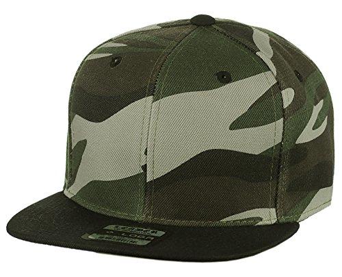 cca39f8a95e L.O.G.A. L.O.G.A. Plain Adjustable Snapback Hats Caps Flat Bill Visor -  Camo Black