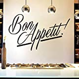 xlei Sticker Mural Nouvelle Cuisine De Mode Amovible Sticker Mural Bon Appetit Vinyle Français DIY Stickers Citations Calligraphie Affiches Murale Art Home Decal98X58Cm