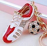 Peino 2018 World Cup - Zapatillas de fútbol con llavero de aleación y diamantes de imitación 11x5x1.7cm Red+white+golden