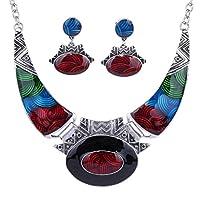 YAZILIND Ethnic Multicolor Embossed Oval Gangle Tibetan Sliver Bib Collar Earrings Necklace Jewelry Set