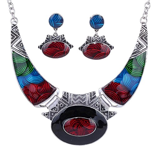 YAZILIND Ethnic Multicolor Embossed Oval Gangle Tibetan Sliver Bib Collar Earrings Necklace Jewelry Set