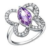 Daesar Damenring Versilbert Verlobungsring Zirkonia Ring Strass Schmetterling Ring Größe:57 (18.1)