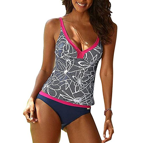 Inlefen donne costumi intero fiori due pezzi bikini costumi da bagno beachwear plus size