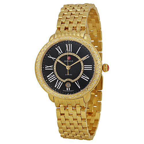 Michele MWW21B000051 Serein Ladies Watch Women's Black Dial Stainless Steel Case Quartz Movement