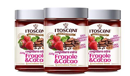 Confettura extra di Fragole e Cacao 3 confezioni da 320 g - i Toscani. Senza GLUTINE, senza CONSERVANTI aggiunti, italia