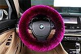 XinGe Winter-bequemer reiner australischer SheepSkin langer Wool Cashmere bequemer Ausdehnung Lenkrad-Abdeckung (Shining Pink)