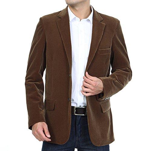 BiSHE Mens Cord Blazer Mantel Smart formales Abendessen Baumwolle Anzüge Jacket Men (Cord-anzug)