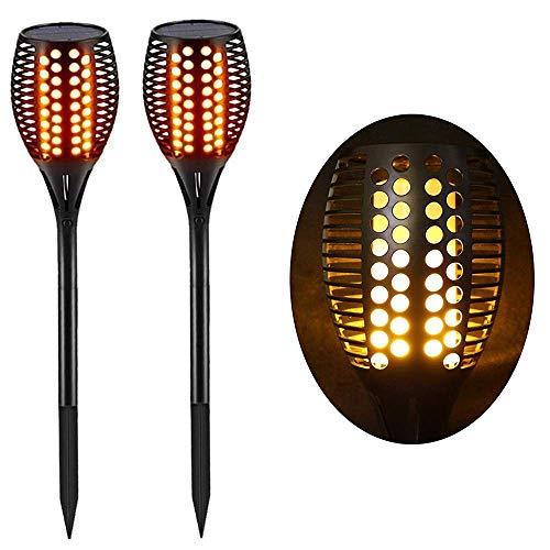 Lighting Arena 2-HT306A Torche LED extérieur étanche & solaire - Décoration de jardin - Effet flamme - Lot de 2, Noir