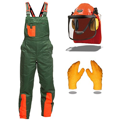 ODSafe® mit Schnittschutzhose Klasse 1, kwf geprüft, Forsthelm, Gehörschutz, Klappvisier, rutschhemmende Handschuhe, Größe 48 ()