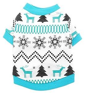 smalllee _ LUCKY _ ranger Pet vêtements pour petit chien chat 100% coton Motif renne Noël T-shirt pour homme Imprimé Style Bleu