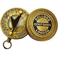 Réplique cadran Solaire Boussole de poche en laiton massif Pocket Garden ornaments and accessories Cadran solaire Dollond London