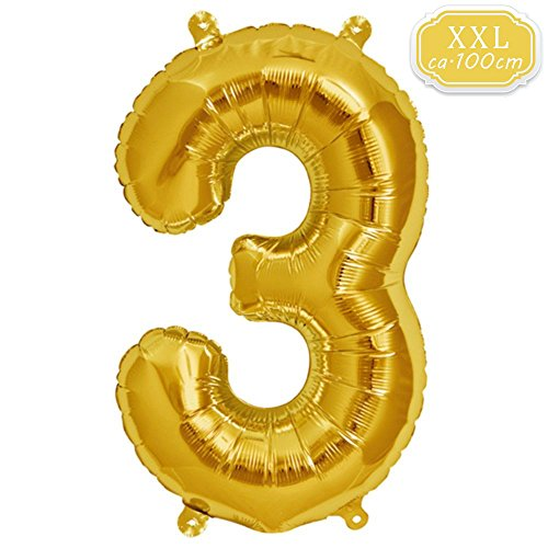 DeaGo XXL Folienballon Zahl [ca.100cm], Gold Luftballon Zahlen für Geburtstag Jubiläum & Party Geschenk partydeko Folienballon Zahlen Luftballons Happy Birthday (Gold [3]) -