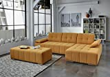 Dreams4Home Polstergarnitur 'Retro II', Ecksofa, Sofa, Wohnlandschaft, Wohnzimmer, orange, Couch, Hocker:ohne Hocker