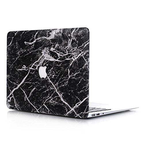 L2W Coque MacBook Air Occasion Case Laptop Plastique Coque Rigide Housse pour Apple MacBook Air 13 pouces (Modèle:A1369/A1466) Incluant Transparent couvercle du clavier,Marbre Noir
