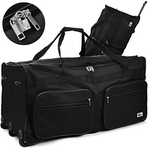 Deuba® XXL Reisetasche ✔mit Trolleyfunktion ✔Rollen mit Kugellager ✔Teleskopgriff ✔abschließbar 160 Liter in Schwarz Sporttasche Reisetrolley Gepäcktasche