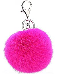 Young & Forever Royal Closet Pink Fur Ball Keychain for Men and Women (Silver)