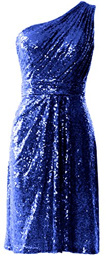 MACloth Women One Shoulder Sequin Cocktail Dress Short Bridesmaid Fomral Gown Royal Blue