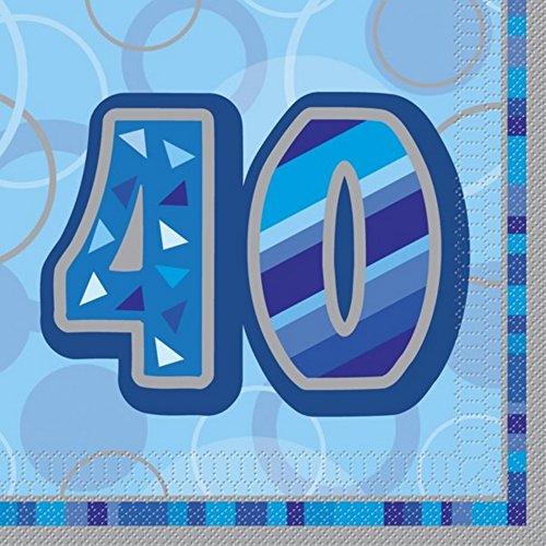 Unique Party Papierserviette 40th Birthday, blau (Einheitsgröße) (Blau)