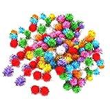 Sharplace 100 pz Glitter luccicanti colorato Mini pompon della canutiglia palle giocattolo per pappagallo dell'uccello, Casuale Colore