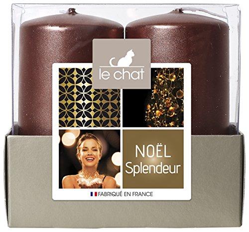 LE CHAT Charlando 1179431 Navidad Bandeja Gloria 2 Velas Medio Modelo - Cobre de Color Rosa