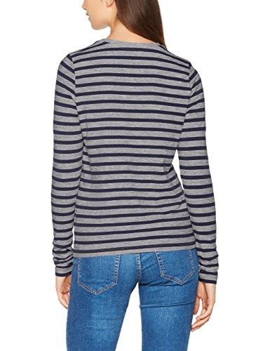 Vero Moda, T-Shirt à Manches Longues Femme Bleu (Navy Blazer Stripes:lgm)