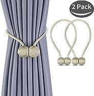 1 Pair Magnetic Curtain Tiebacks Decorative Rope Holdback Holder for Small Window Drapries
