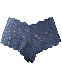 Navy Blue Lace Boxer Briefs See Through Soft Lace small medium large and XLarge