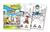 QuackDuck Malbuch Riding safely - Sicher Fahrrad fahren - Color, cut and stick - Malen, schneiden und kleben mit farbigen Verkehrszeichen und Radfahrern - Malblock für Kinder ab 5 Jahre - mit buntem Sammelumschlag zum Einstecken