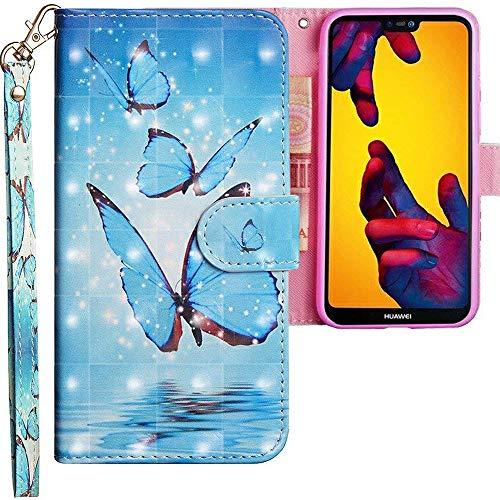 CLM-Tech Huawei P20 Lite Hülle, Tasche aus Kunstleder, Blaue Schmetterlinge, PU Leder-Tasche für Huawei P20 Lite Lederhülle