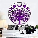 guijiumai Phases de la Lune Cycle Cycle Arbre De Vie Symbole Autocollant Vinyle Sticker Art Home Decor Papier Peint Chambre Décoration Murale Amovible LC 5 56cm x 56cm