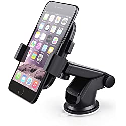 Soporte Móvil Coche para Teléfono, Basico Soporte Universal Horizontal Giratorio 360° Rotación Telescópico para Ventosa Salpicadero Parabrisa Apto GPSApt iPhone Android Huawei Bq Aquaris Móviles 3.5-6