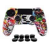 Hikfly Silikon mit Gummi-Öl-Gel-Controller Deckel Hautschutz Fall Faceplates Kits für Sony Playstation 4 PS4 / PS4 Slim / PS4 Pro Controller Videospiele mit 8 x FPS Pro Daumen Griffe Caps)(weiße Karikatur)