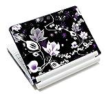 wortek Universal Notebook Folie für Notebooks bis ca. 15,4 Zoll - Ranke Schwarz Weiß Lila