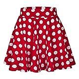 FAMILIZO_Faldas Cortas Mujer Verano Faldas Tubo De Moda Faldas Tul Mujer Faldas Altas De Cintura Faldas Acampanadas De Mujer Mini Faldas Lunares (L, Rojo)
