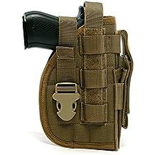 Yisibo Tactical Molle nylon pistola pistola modular con bolsa de mag para tiradores derecho 1911 45 92 96 Glock (Marrón)