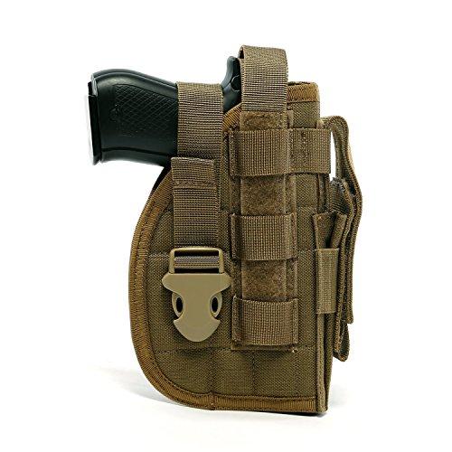 Yisibo Tactical Molle Nylon Modular Pistol Holster mit Mag Pouch für Rechtshänder Shooter 1911 45 92 96 Glock (Coyote Braun) Airsoft Pistole Holster Weste