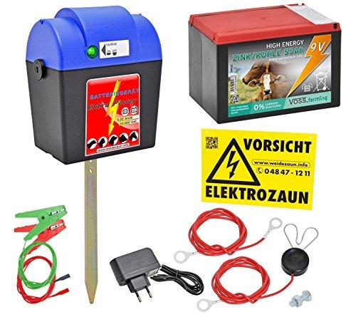 Weidezaungerät Extra Power 230V 9V 12V inkl. Batterie,  Weidezaun und  Zubehörset