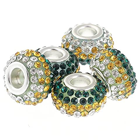Rubyca gros trous 15mm cristal Charm perle pour bracelet charms européens, Dark Emerald with Amber Gold and White Clear, 100 PCS
