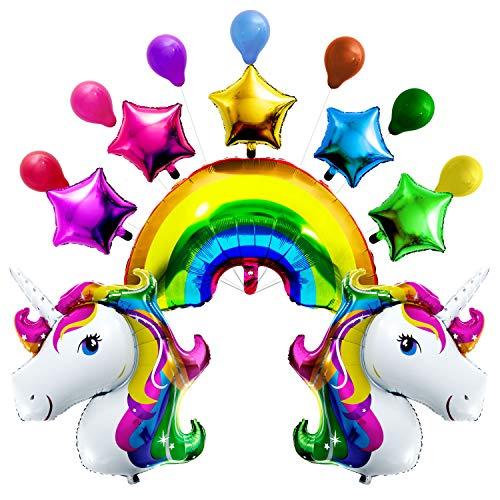 Maojuee Einhorn Luftballons Set, Gaint XXL Regenbogen Einhorn Luftballon Helium Folienballon Geburtstag Einhornparty Deko