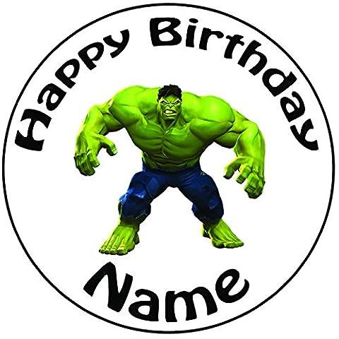 personalisierbar Incredible Hulk Kuchen Topper–Einem vorgeschnittenen Rund 20,3cm (20cm) Zuckerguss