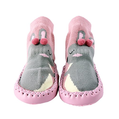 Kinder Socken Hüttenschuh Baby Anti Rutsch Boden Söckchen Niedlich Socke Kindersocken Mädchen und Junge Warm Sock Rosa S (Niedliche Baby-socken)