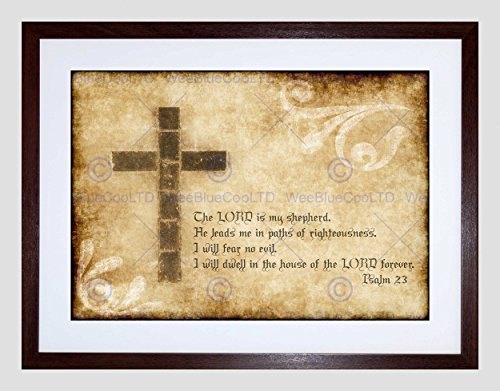 PSALM 23 LORD SHEPHERD CROSS CHRISTIAN RELIGIOUS QUOTE ART PRINT B12X13828