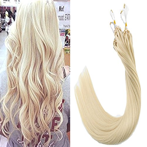 Laavoo 22pollici easy loop extension capelli microring 1g 50ciocche fusion micro beads ring hair extensions lisci (bionda platino #60)
