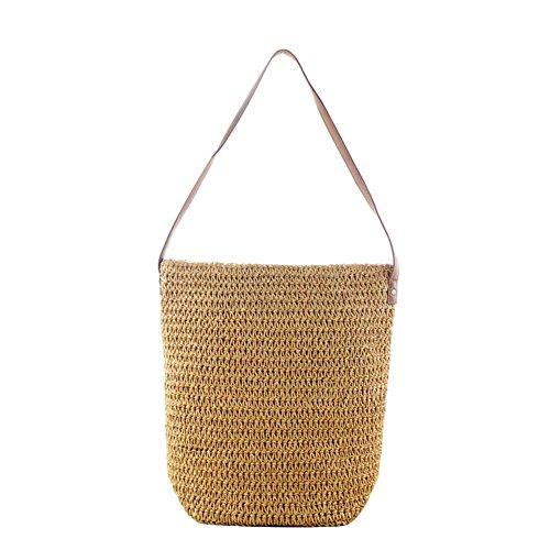 iBaste Klassisch Stroh Weberei Sommer Strandtasche Tragetasche Handtasche Schultertaschen Umweltfreundlich Einkaufstasche (4-licht-post Klassische)