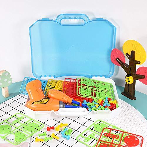 NACEO Pädagogische Einblicke Design Und Bohrmaschine 3D Puzzle, 144 Stück Kunststoff-Zubehör Kreative Für Kinder, Pädagogische Spielzeug Bohrer Stem Learning Design Kit Erstellen