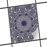 creatisto Badfliesen | Motiv-Sticker Aufkleber Folie Fliesen verschönern Küchen-Folie Küchengestaltung | 20x25 cm Design Motiv Blue Mandala - 1 Stück