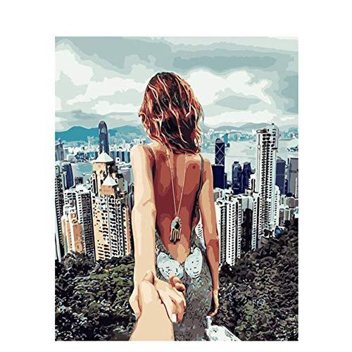 Digitale Malerei Diy rahmenlose Charaktere nackt zurück Malerei Wandkunst Bild Kunst Heimtextilien Zeichnung