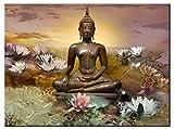 Buddha umgeben von Sacred Lotus - Zeitgenössisches Wandbild - Fine Art Leinwanddruck von LEA SCHOCK - Grossformat