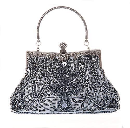 MMYOMI Vintage Perlen Kupplung Pailletten Hochzeit Prom Tasche Braut Damen Crossbody Abend Handtasche (Grau) - Vintage Perlen Handtasche