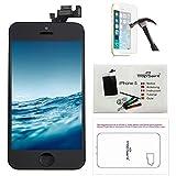 trop saint® Ersatz Bildschirm Display Für iPhone 5 Schwarz Komplettes Retina LCD mit Magnetische Schraubekarte, Werkzeug, Anleitung und Panzerglas Folie